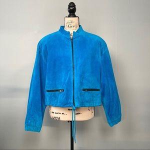 Chia Vintage 80's Cerulean Blue Crop Suede Jacket